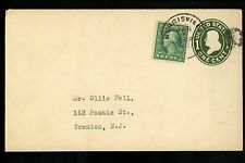 US Postal History Scott #U400 + 542 Envelope 1/6/1921 Morrisville PA Trenton NJ