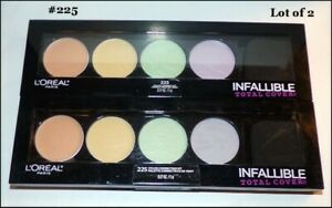 NEW & SEALED Lot of 2 L'Oreal Infallable Total Cover Concealer Quad Palette #225
