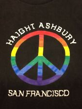 Haight Ashbury Black 2xl T-Shirt San Francisco California Hippie Peace Rainbow