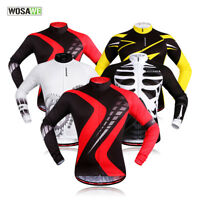 Mens Cycling Jerseys Bicycle Bike Outdoor Tops Shirts Long Sleeve Full Zipper