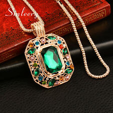 Long Necklace Women Party Jewelry Big Vintage Square Green Rhinestone Pendant