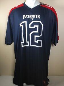 RARE Tom Brady #12 New England Patriots Majestic Jersey Navy Blue Big & Tall 3XL