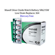 100 count of New Maxell 364 SR621SW SR621 28034 LR621 AG1 Battery Mercury free