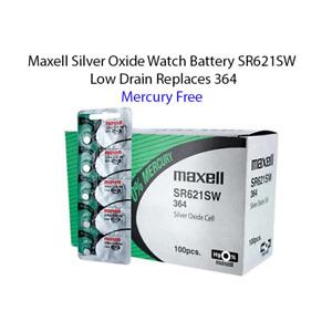 100 count of New Maxell 364 SR621SW SR621 28034 LR621 AG1 Expires 2024
