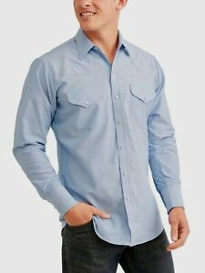 Ely & Walker Oxford Long Sleeve Wrinkle Free Western Shirt, Light Blue, Large
