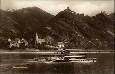 """Bornhofen ~1910/20 Fluß Rhein Schiff Dampfer """"Vaterland"""" Burg Sternberg Ruinen"""