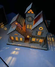 Hallmark Christmas Village Town House Light Up wooden holiday wood luminary Rare