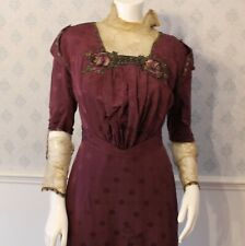 Antique Edwardian Burgandy Floral Long Sleeve Women's Dress - AS IS