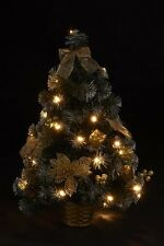 2ft christmas tree pre lit table top decorated gold poinsettia led lights warm - Gold Christmas Tree Lights