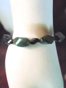 Magnetic Hematite Beaded Bracelet Dark Green Stone 8 1/4 inch Fashion Jewelry