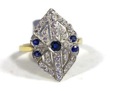 18ct gold sapphire & diamond art deco-style ring platinum setting uk size N, new