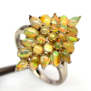 NATURAL MULTICOLOR OPAL 925 STERLING SILVER RING SZ 9.25