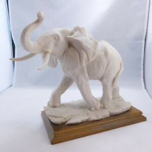 A Belcari Alabaster Elephant by a Master Sculptor in Italy  Signed  DEAR 1988