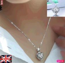 New 925 Sterling Silver Open Filigree Crystal Heart Locket Pendant Necklace UK