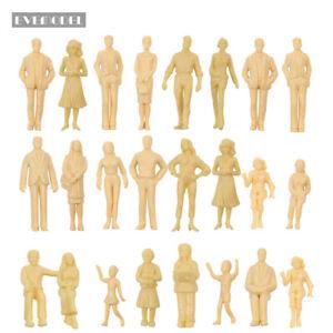 24pcs Model Trains G Scale 1:25 Unpainted Figures People 21 Different Poses
