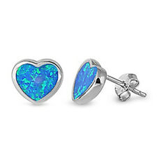 TOP VALENTINE'S SELLER! Blue Australian Opal Heart .925 Sterling Silver Earrings