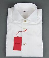 New $895 Kiton Napoli Handmade Solid White Dress Shirt Size 15 38 NWT
