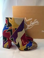 CHRISTIAN LOUBOUTIN 37 Boot Hilconico Geometric Silk Jacquard Ankle Bootie $1095