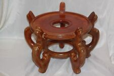 WOODEN ORIENTAL WOOD FISH BOWL PLANT STAND HOLDER