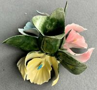 Beautiful NUOVA CAPODIMONTE PORCELAIN ORCHID FLOWER Candle Holder MADE IN ITALY