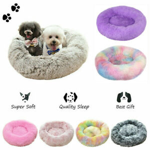 Long Plush Dog Cat Calming Bed Fluffy Donut Pet Beds Cushion for Samll Large Dog