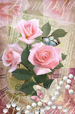BEAUTIFUL RUSTIC FLORAL CANVAS PICTURE #53 STUNNING SHABBY CHIC FLOWERS CANVAS.