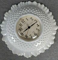 Homco Quartz White Hobnail Plastic Wall Clock 1984 USA Works Burwood Prod Co