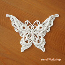 1pc: Embroidered Butterfly Cotton Lace Applique 12cm x 8.5cm Antique DIY