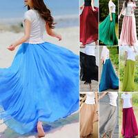 Double Layer Chiffon Pleated Retro Long Maxi Dress Elastic Waist Beach Skirt New