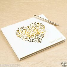 wedding or anniversary ivory & gold vintage romance love heart guest book