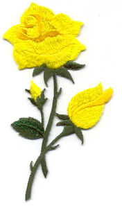 Rose - Garden - Spring - Shimmering Yellow Embroidered Iron On Applique Patch