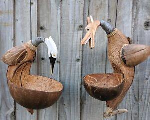 Hand Made FairTrade Wooden Coconut Heron Dragon Hanging Bird Seed Feeder Station