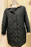 EUC Burberry London Snap Front Quilted Jacket Nova Check Lining Black Size 36
