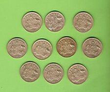 TEN  1950  AUSTRALIAN SILVER SIXPENCE COINS