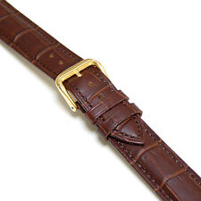 18mm Men Brown Genuine Leather Watch Band Strap with Gold Buckle