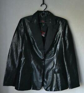 NWT! NEW! Authentic Luxury ESCADA Black Shiny Silk Blend Tuxedo Blazer 38
