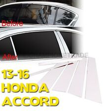 US Chrome Stainless Steel Window Door Pillar Post Cover For 2013-16 Honda Accord
