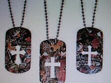 12 CAMOUFLAGED DOG TAGS with cross cutout religious VBS Sunday School necklaces