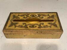 ITALY VTG GOLD FLORENTINE YELLOW ANTIQUE TISSUE BOX HOLDER