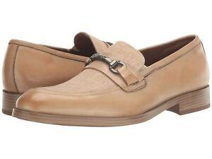 Kenneth Cole Brock 2.0 Bit Men Slip On Horse Bit Loafers Beige Leather