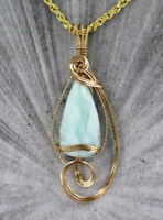 LARIMAR  GEMSTONE CABOCHON  PENDANT NECKLACE  IN 14KT ROLLED GOLD