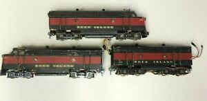RARE LOT 3 ROCK ISLAND PRESSED STEEL ENGINES 101 111 PUSHER 123 AMERICAN FLYER??