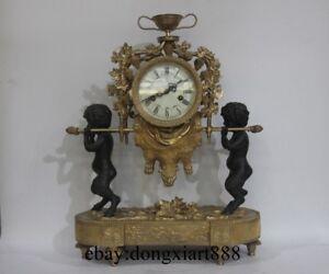 Europe Retro Bronze Art Deco Two Boy lift Grape Trellis Mechanical Table Clock