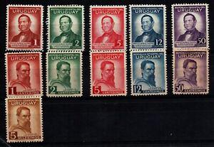 1941 Uruguay 512-522 MH complete set poet & painter Waterlw & sons