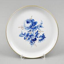 Meissen Porzellan Wandteller Teller / Blumen Blau Gold-Gräser Kobalt / Meissener