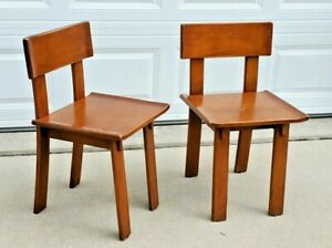 Vintage MCM Russel Wright Conant Ball American Modern Maple Peg Plank Chairs