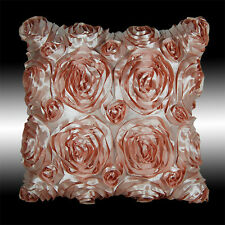 """BABY PINK 3D RAISED RIBBON ROSES FAUX SILK THROW PILLOW CASE CUSHION COVER 16"""""""