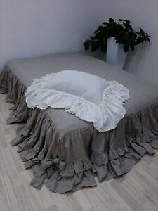 Linen pillowcase with big ruffles inside pocket ruffled bedding queen pillowca