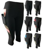 Women Compression Yoga Workout Pants High Waist Active Capri Leggings Pockets