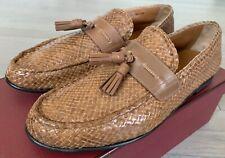 $900 Bally Lyons Khaki Interlaced Loafers Size US 10.5 Made in Switzerland